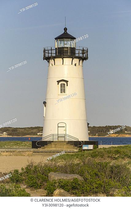 Edgartown Harbor Light protects mariners at the entrance to Edgartown Harbor and Katama Bay in Edgartown, Massachusetts on Martha's Vineyard