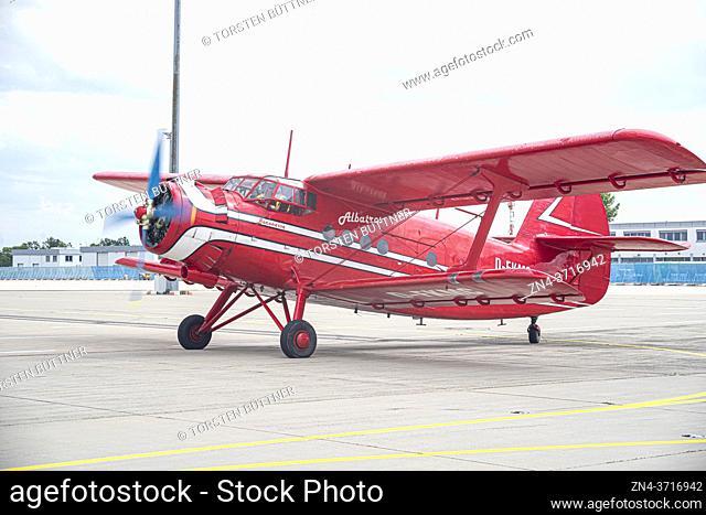 Soviet single-engine biplane Antonov An-2 at Erfurt Air Show, Germany