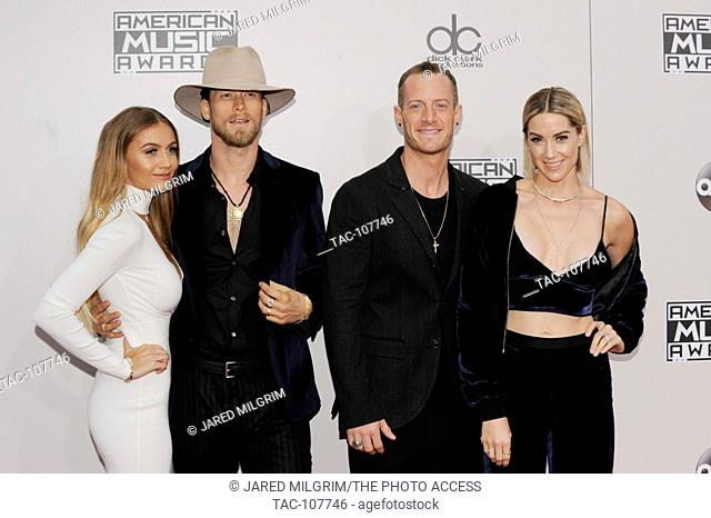 Hayley Stommel Hubbard, Tyler Hubbard, Brian Kelley, Brittney Marie Cole Kelley of Florida Georgia Line arrives at the 2016 American Music Awards at Microsoft...
