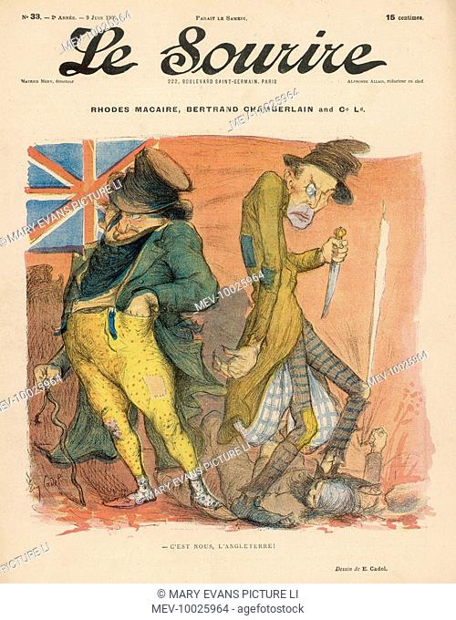 A perfidious John Bull in league with Jack the Ripper - this is the true nature of England. Satire on Cecil Rhodes and Chamberlain at the time of the Entente...