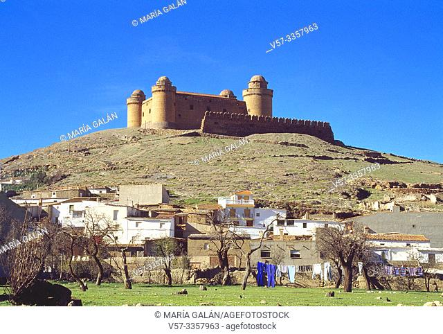 Overview of the village and castle. Lacalahorra, Granada province, Andalucia, Spain