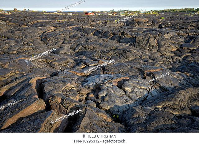 USA, Vereinigte Staaten, Amerika, Hawaii, Big Island, Puna District, lava desert and houses