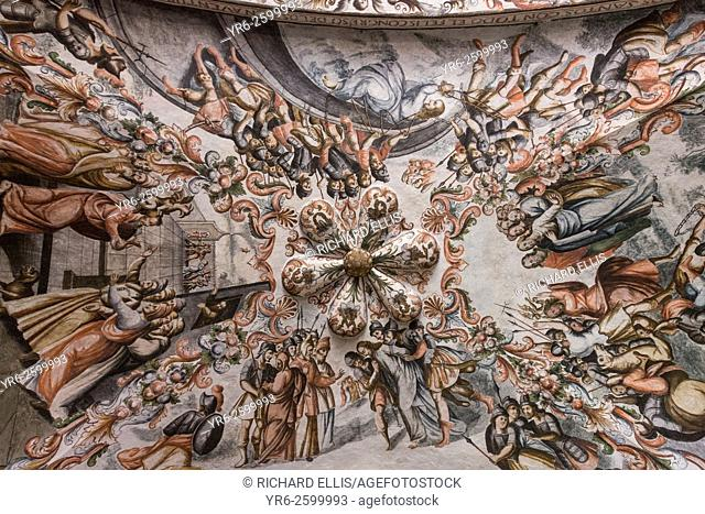 Inside the Sanctuary of Atotonilco with Mexican folk Baroque murals painted on the ceiling and walls in Atotonilco, Mexico