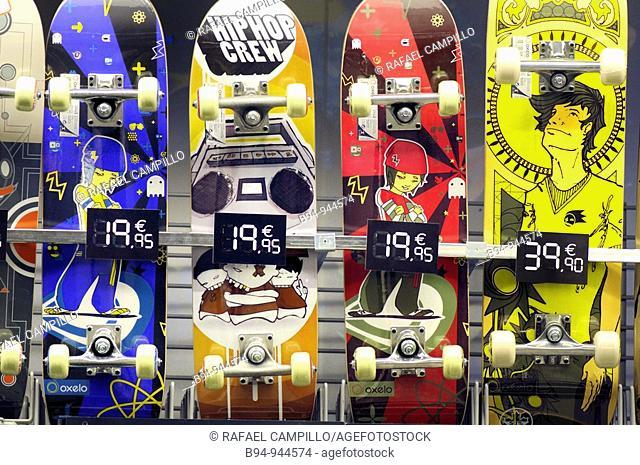 Skateboards. Barcelona, Catalonia, Spain