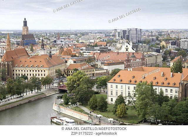 Wroclaw aerial view from the top of the cathedral Poland