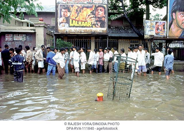 Water logging on roads due to heavy rain , Mumbai Bombay , Maharashtra , India