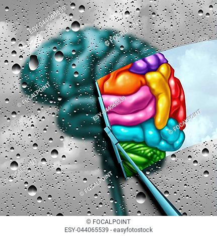 Brain creativity as a gray blurry brain with drops on a window as a wiper cleans the confusion to a creative thinking as a symbol of autism and autistic mind...