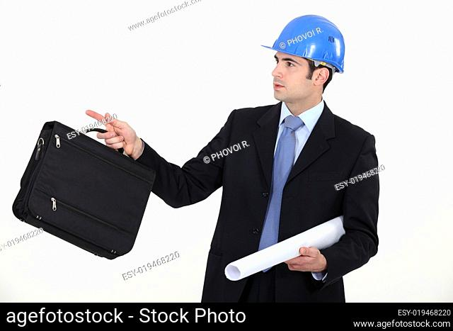 Businessman directing his colleague