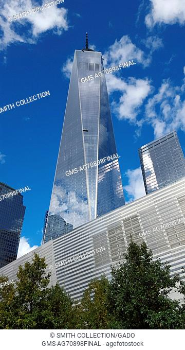 Exterior of Freedom Tower (aka One World Trade Center) and the National September 11 Museum, the main buildings in the rebuilt World Trade Center complex in...