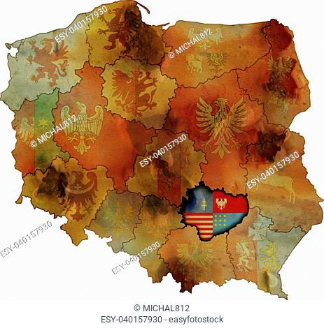 grunge map of provinces in poland with swietokrzyskie most visible