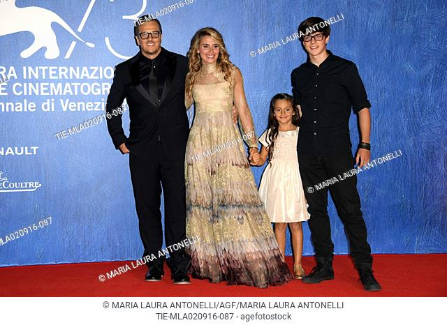 The director Gabriele Muccino with wife Angelica Russo and sons Penelope Muccino and Silvio Leonardo Muccino during the red carpet of film L'Estate addosso at...