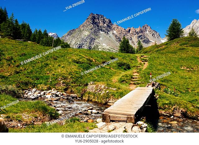 Mountain landscape with river and wooden bridge, Alpe Devero, italy
