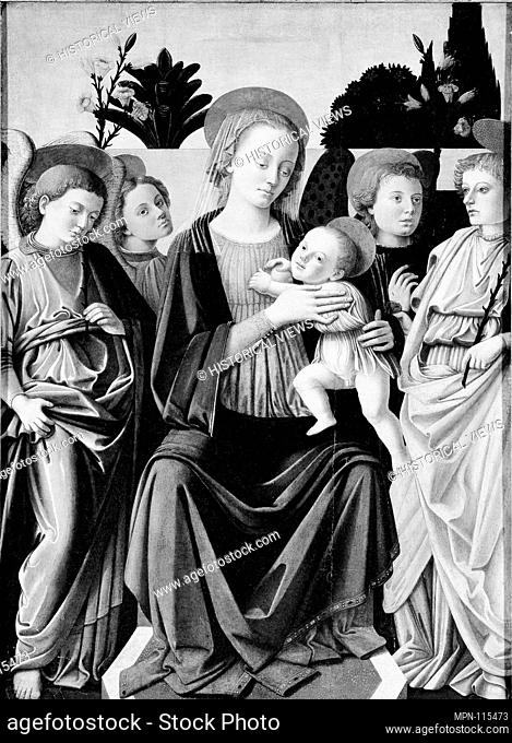 Madonna and Child with Angels. Artist: Italian (Florentine) Painter (third quarter 15th century); Medium: Oil on wood; Dimensions: Overall 34 x 24 5/8 in