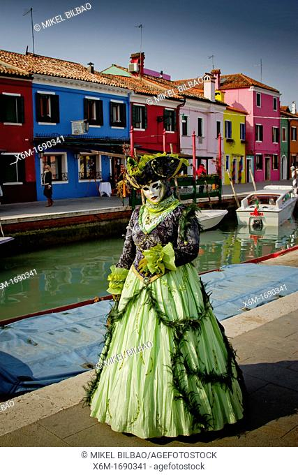 People in mask disguise in carnival  Burano island  Venice, Italy