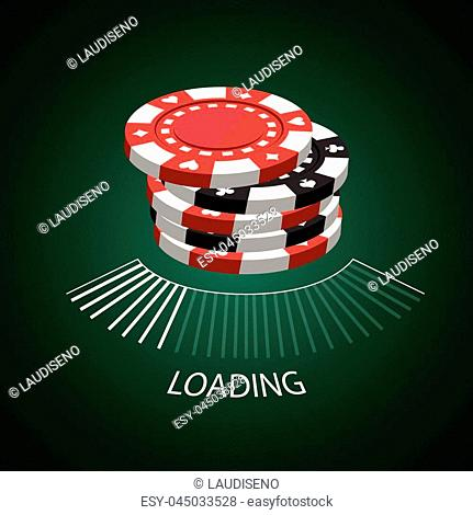 Set of casino coins and a loading screen, Vector illustration