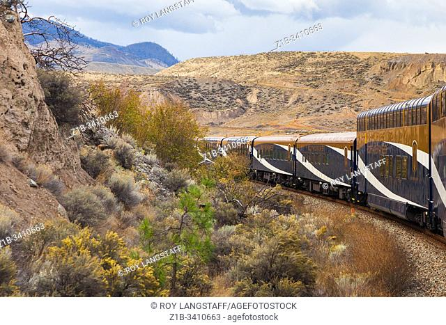 The Rocky Mountaineer rounding a bend approaching Ashcroft in British Columbia Canada
