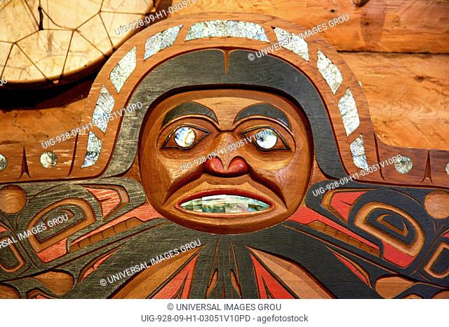 Detail Of Chief'S Chair With Abalone Inlay Inside Longhouse At 'Ksan Historical Village And Museum, B.C., Canada