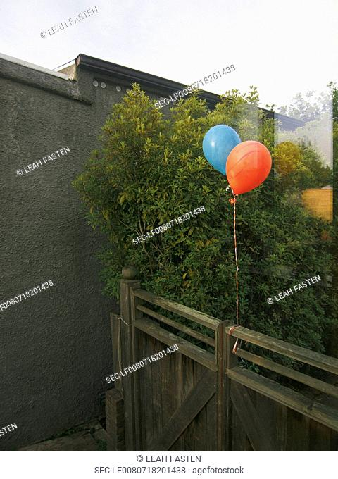 Balloons floating on fence