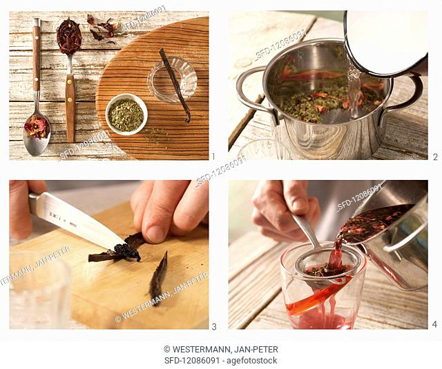 How to prepare mate & mallow tea with rose petals