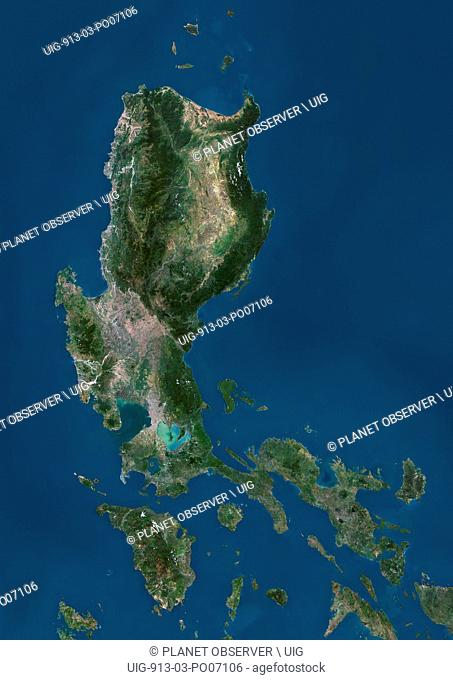 Satellite view of Luzon, Philippines. It is the largest and most populous island in the Philippines. This image was compiled from data acquired by Landsat...