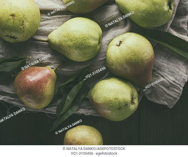 ripe green pears, top view, vintage toning