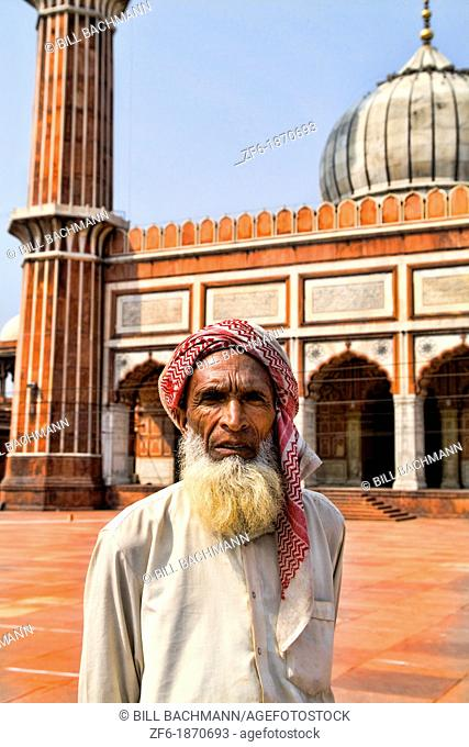 Portrait Inside Muslim Mosque in Delhi India called the Jama Masjid which is the largest in India