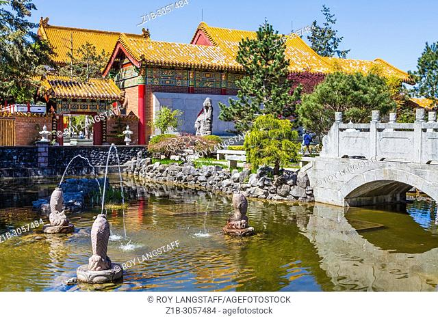 Water feature on the grounds of the Buddhist temple on Steveston Highway in Richmond, British Columbia, Canada