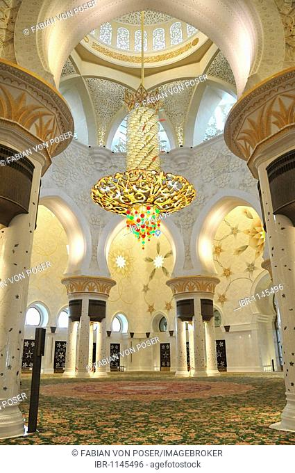 Prayer hall of the Sheikh Zayed Mosque, third largest mosque in the world, Abu Dhabi, United Arab Emirates, Arabia, Middle East, Orient