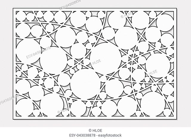 Template for cutting. Circle, geometric pattern. Laser cut. Set ratio 2:3. Vector illustration