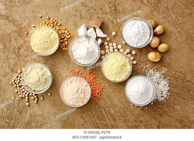 Different types of gluten-free flour in bowls