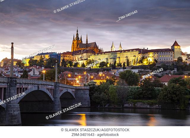 Evening at Manes bridge in Prague, Czechia
