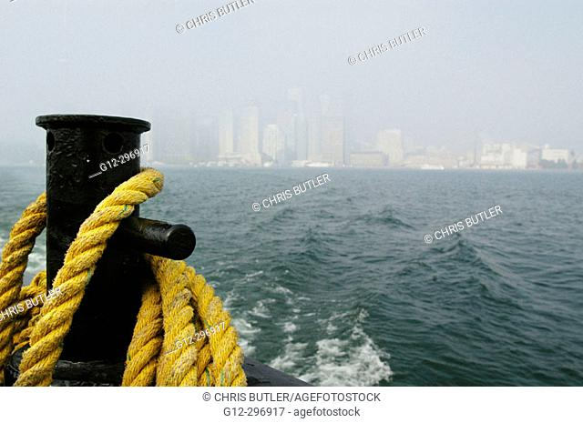 City of Toronto (Ontario, Canada) in fog from ferry boat