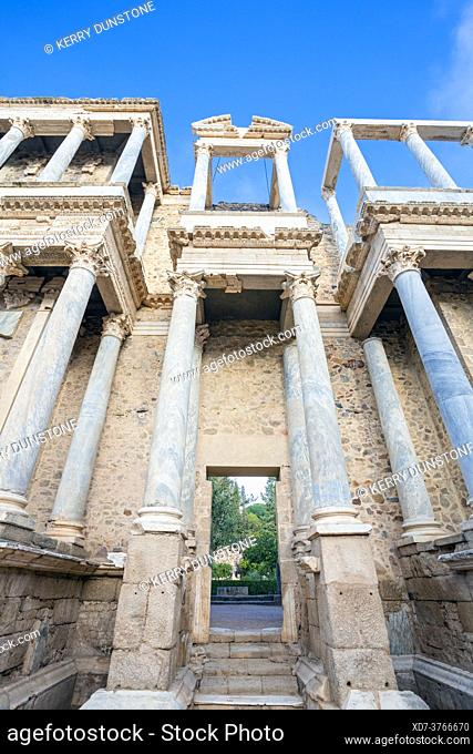 Europe, Spain, Badajoz, Merida, The Ancient Roman Theatre (Teatro Romano de Mérida) showing Entrance to the Stage