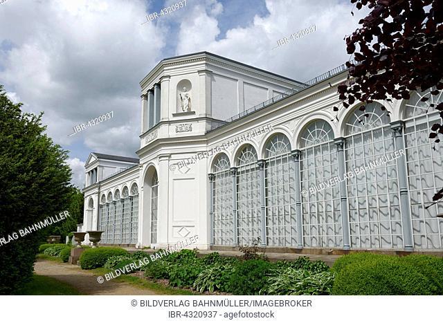 Orangery in the castle gardens, Putbus, Rügen, Mecklenburg-Western Pomerania, Germany