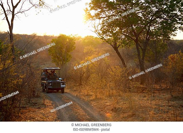 Tourists on land cruise, Victoria Falls, Zimbabwe