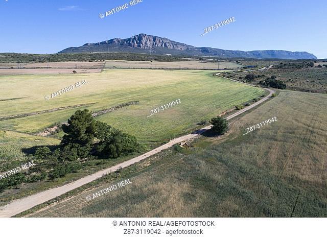 Dron view. Road and El Mugrón in background. Almansa. Albacete. Spain