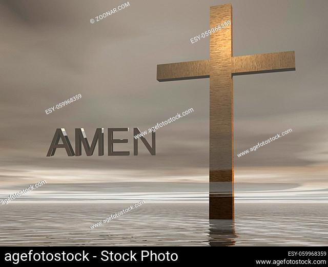 cross on clouds background and sky
