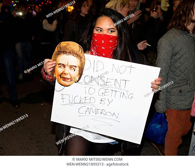 Anarchists and other protesters marched from Trafalgar Square to Parliament Square to demonstrate against the government