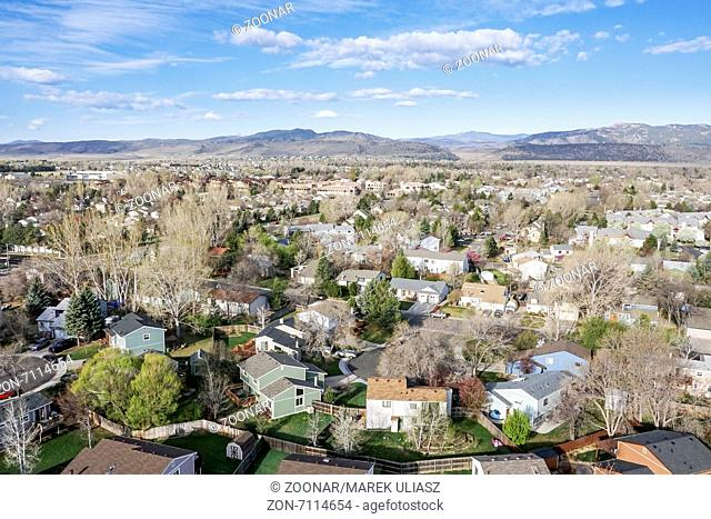 aerial view of Fort Collins, Colorado
