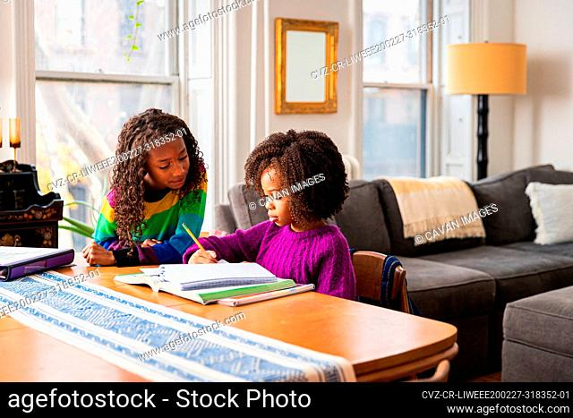 Girl assisting sister in doing homework at table in living room