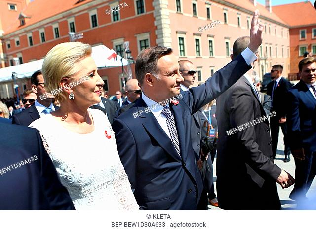 May 03, 2018 Warsaw, Poland. Constitution Day in Poland. Pictured: Presidential Couple