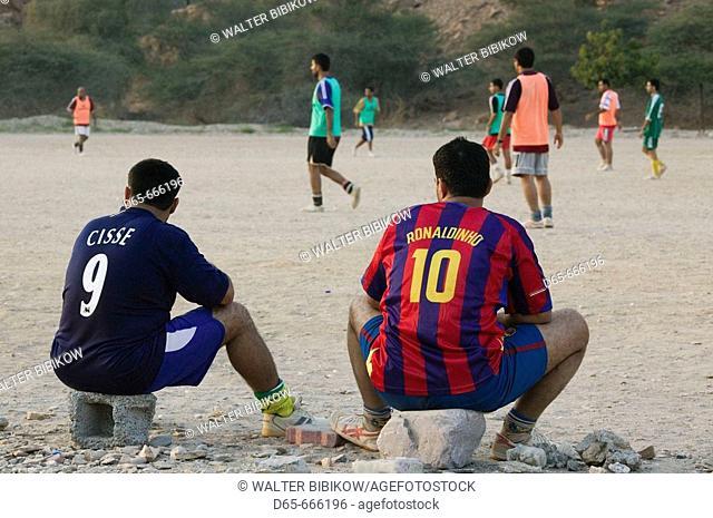 OMAN-Gulf of Oman-Yiti: Watching a Soccer (Football) Game