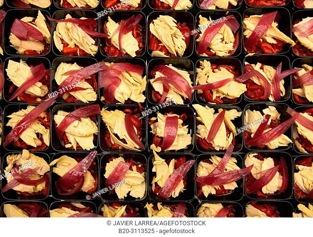 Tuna and peppers salad, Catering in congress, Kursaal Congress Palace, Donostia, San Sebastian, Gipuzkoa, Basque Country, Spain, Europe