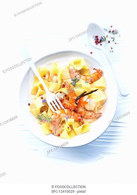 Vanilla prawns with pappardelle pasta