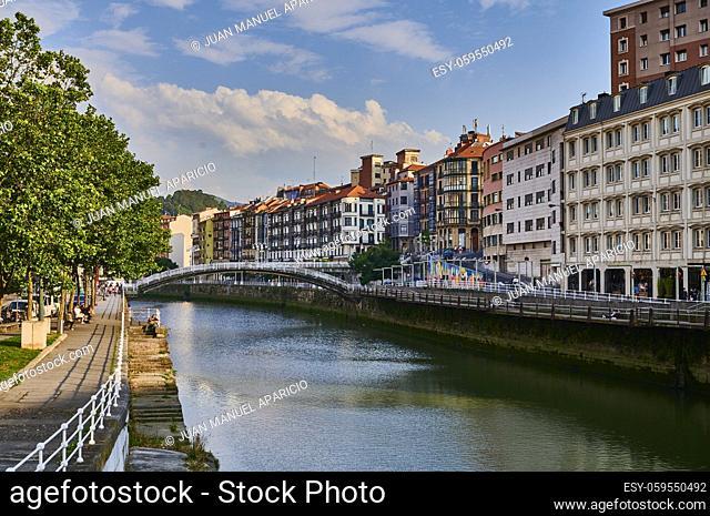 View of the Nervion river and La Ribera Bridge, Bilbao, Bizkaia, Basque Country, Euskadi, Euskal Herria, Spain, Europe