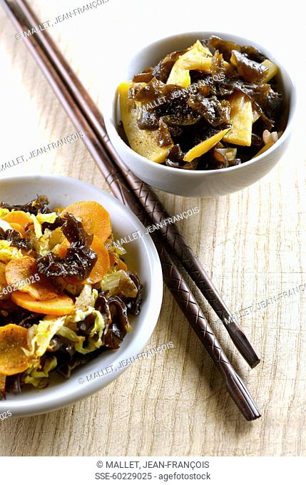 Black mushrooms with bamboo shoots,Chinese cabbge and black mushroom wok