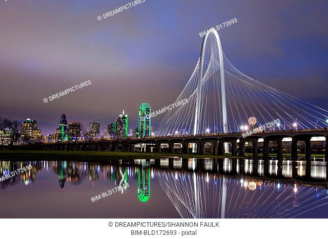 Margaret Hunt Hill Bridge reflecting in Trinity River, Dallas, Texas, United States