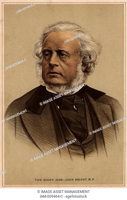 John Bright 1811-1889 British radical statesman, born in Rochdale, Lancashire  Anti-Corn Law League  Reform Act 1867  Tinted lithograph