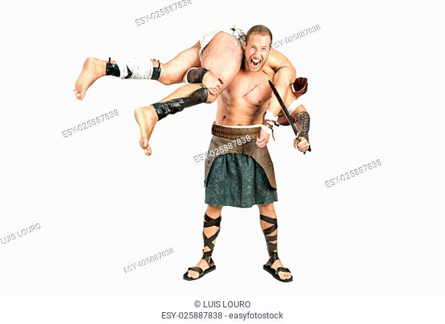 Gladiator holding defeated oponent isolated in a white background