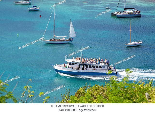 Interialand ferry in harbor in Cruz Bay on the Caribbean Island of St John in the US Virgin Islands